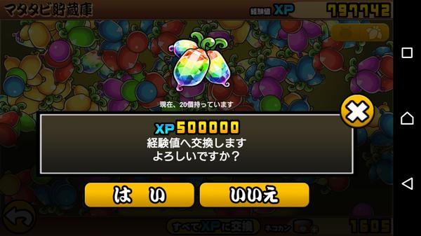 虹マタタビは500000XP